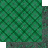 Scrapbook Customs - Magical Witch and Wizard Collection - 12 x 12 Double Sided Paper - Green and Silver Plaid