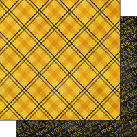 Scrapbook Customs - Magical Witch and Wizard Collection - 12 x 12 Double Sided Paper - Yellow and Black Plaid