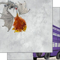 Scrapbook Customs - Magical Witch and Wizard Collection - 12 x 12 Double Sided Paper - Dragon