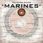 Scrapbook Customs - Military Collection - 12 x 12 Paper - Marines Emblem