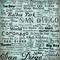 Scrapbook Customs - United States Collection - California - 12 x 12 Paper - San Diego Words
