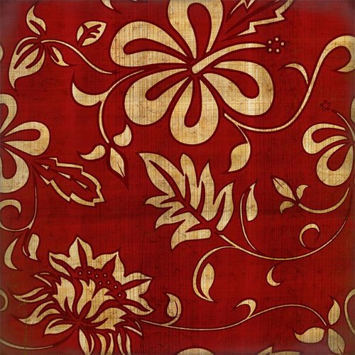 Scrapbook Customs - United States Collection - Hawaii - 12 x 12 Paper - Hawaiian Floral - Red