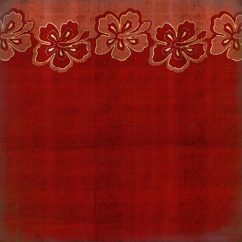 Scrapbook Customs - United States Collection - Hawaii - 12 x 12 Paper - Hibiscus Border - Red