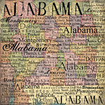 Scrapbook Customs - United States Collection - Alabama - 12 x 12 Paper - Map