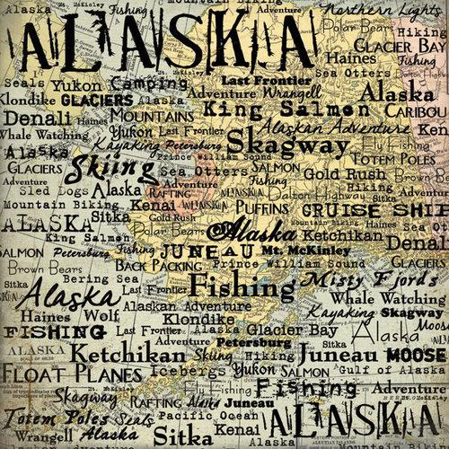 Scrapbook Customs - United States Collection - Alaska - 12 x 12 Paper - Map