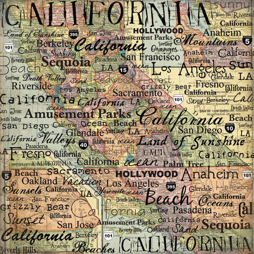 Scrapbook Customs - United States Collection - California - 12 x 12 Paper - Map