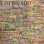 Scrapbook Customs - United States Collection - Colorado - 12 x 12 Paper - Map
