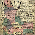 Scrapbook Customs - United States Collection - Idaho - 12 x 12 Paper - Map