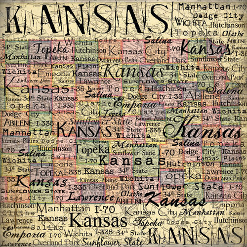 Scrapbook Customs - United States Collection - Kansas - 12 x 12 Paper - Map