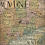 Scrapbook Customs - United States Collection - Maine - 12 x 12 Paper - Map