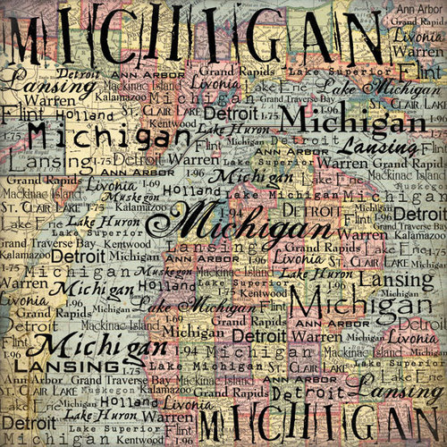 Scrapbook Customs - United States Collection - Michigan - 12 x 12 Paper - Map