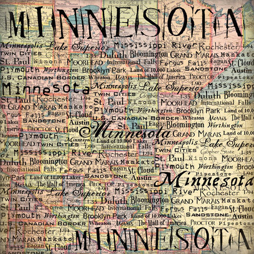 Scrapbook Customs - United States Collection - Minnesota - 12 x 12 Paper - Map