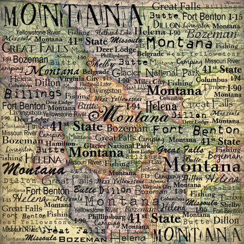 Scrapbook Customs - United States Collection - Montana - 12 x 12 Paper - Map