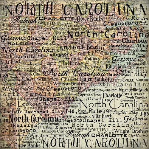 Scrapbook Customs - United States Collection - North Carolina - 12 x 12 Paper - Map