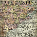 Scrapbook Customs - United States Collection - North Carolina - 12 x 12 Paper - Map