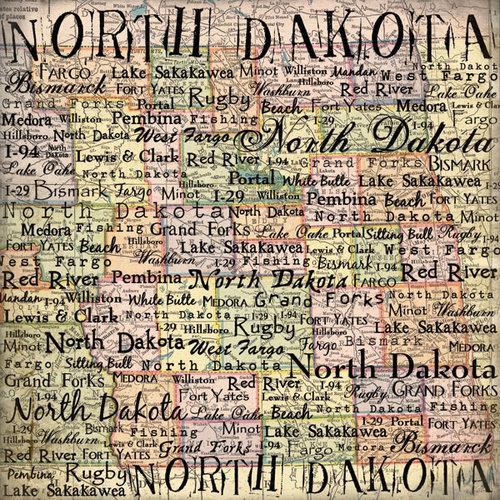 Scrapbook Customs - United States Collection - North Dakota - 12 x 12 Paper - Map