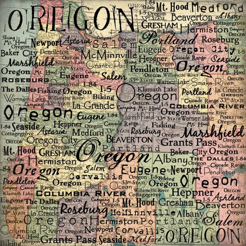 Scrapbook Customs - United States Collection - Oregon - 12 x 12 Paper - Map