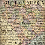 Scrapbook Customs - United States Collection - South Carolina - 12 x 12 Paper - Map