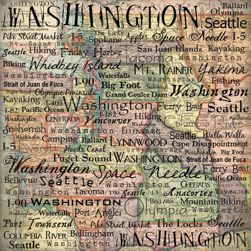 Scrapbook Customs - United States Collection - Washington - 12 x 12 Paper - Map