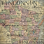 Scrapbook Customs - United States Collection - Wisconsin - 12 x 12 Paper - Map