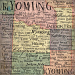 Scrapbook Customs - United States Collection - Wyoming - 12 x 12 Paper - Map