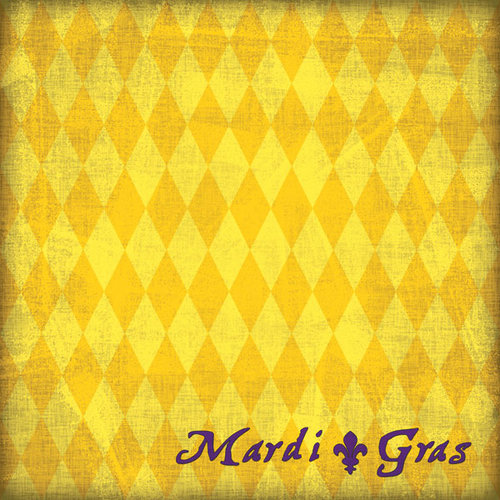 Scrapbook Customs - United States Collection - Louisiana - 12 x 12 Paper - Mardi Gras - Yellow