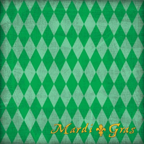 Scrapbook Customs - United States Collection - Louisiana - 12 x 12 Paper - Mardi Gras - Green
