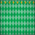 Scrapbook Customs - United States Collection - Louisiana - 12 x 12 Paper - Mardi Gras - Green - Companion