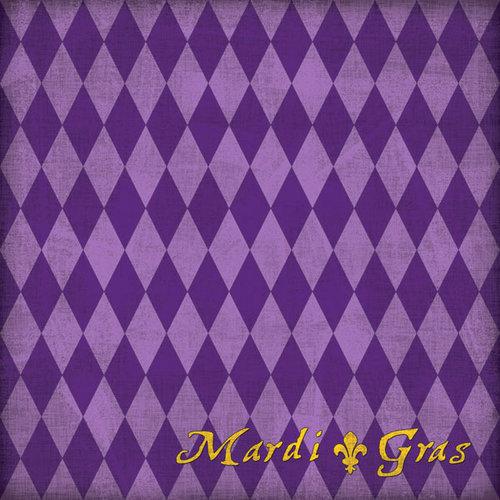 Scrapbook Customs - United States Collection - Louisiana - 12 x 12 Paper - Mardi Gras - Purple