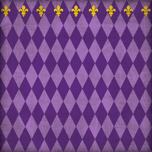 Scrapbook Customs - United States Collection - Louisiana - 12 x 12 Paper - Mardi Gras - Purple - Companion