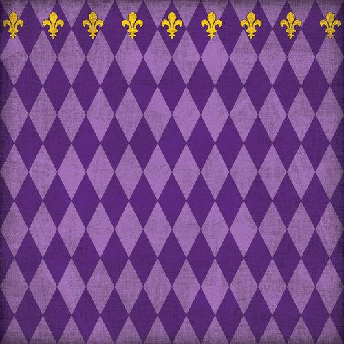Scrapbook Customs - United States Collection - Louisiana - 12 x 12 Paper - Mardi Gras - Purple - Companion