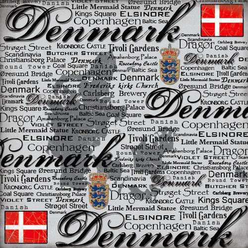 Scrapbook Customs - World Collection - Denmark - 12 x 12 Paper - Scratchy