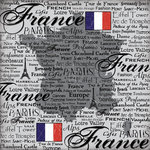Scrapbook Customs - World Collection - France - 12 x 12 Paper - Scratchy