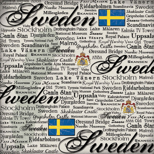 Scrapbook Customs - World Collection - Sweden - 12 x 12 Paper - Scratchy