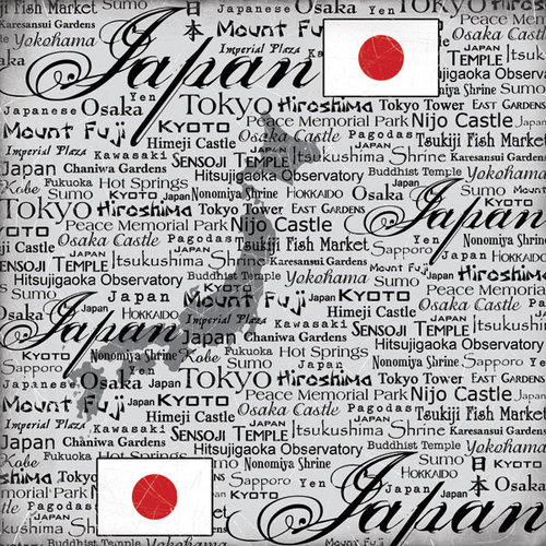 Scrapbook Customs - World Collection - Japan - 12 x 12 Paper - Scratchy