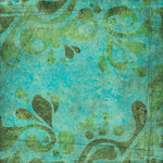Scrapbook Customs - Travel Collection - 12 x 12 Paper - Tropical - Paisley - Green