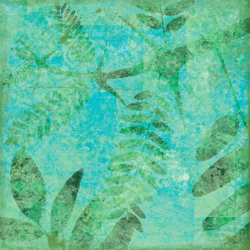 Scrapbook Customs - Travel Collection - 12 x 12 Paper - Tropical - Fern - Green