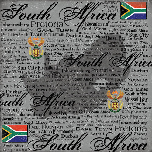 Scrapbook Customs - World Collection - South Africa - 12 x 12 Paper - Scratchy