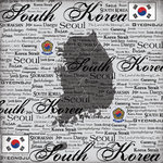 Scrapbook Customs - World Collection - South Korea - 12 x 12 Paper - Scratchy
