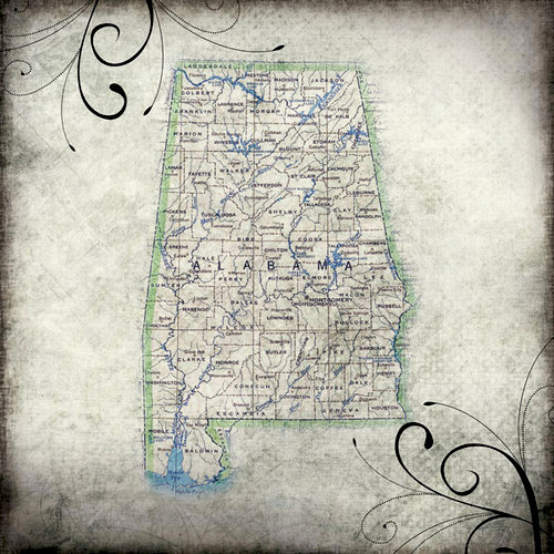 Scrapbook Customs - United States Collection - Alabama - 12 x 12 Paper - Travel