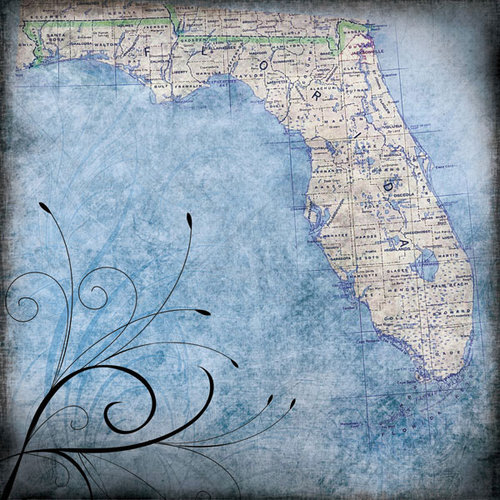 Scrapbook Customs - United States Collection - Florida - 12 x 12 Paper - Travel