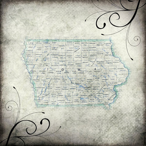 Scrapbook Customs - United States Collection - Iowa - 12 x 12 Paper - Travel
