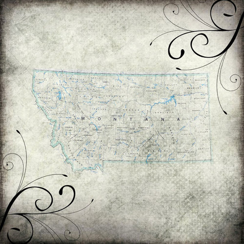 Scrapbook Customs - United States Collection - Montana - 12 x 12 Paper - Travel