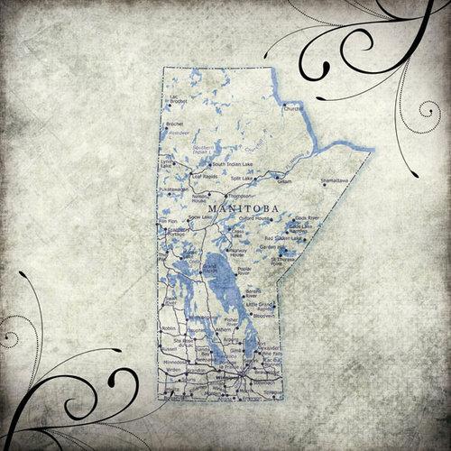 Scrapbook Customs - World Collection - Canada - 12 x 12 Paper - Travel - Manitoba