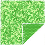 Scrapbook Customs - Travel Collection - 12 x 12 Double Sided Paper - Bon Voyage - Green Ferns