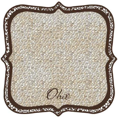 Scrapbook Customs - United States Collection - Ohio - 12 x 12 Die Cut Paper - State Shape