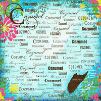 Scrapbook Customs - World Collection - Mexico - 12 x 12 Paper - Cozumel - Paradise