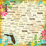 Scrapbook Customs - World Collection - USA - 12 x 12 Paper - Florida - Paradise