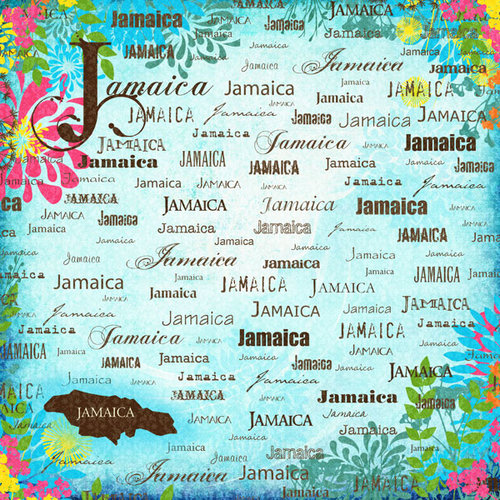 Scrapbook Customs - World Collection - Jamaica - 12 x 12 Paper - Paradise