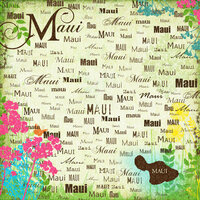 Scrapbook Customs - World Collection - USA - 12 x 12 Paper - Maui - Paradise
